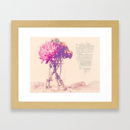 Dahlias with French Script Framed Art Print