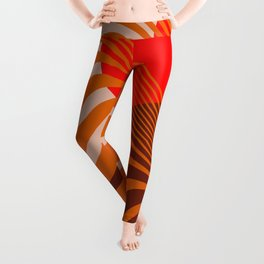 Beyond The Fog - Red & Brown Leggings