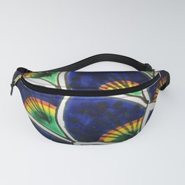 HAND PAINTED PEACOCK FEATHERS Fanny Pack
