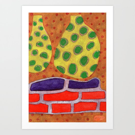 Interieur Design with Intensively Colored Upholstered Bench Art Print