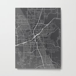 Huntsville Map, Alabama USA - Charcoal Portrait Metal Print