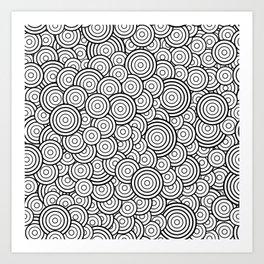 Chaotic Circles - Geometric Pattern (White) Art Print
