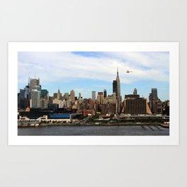 New York City (Manhattan) - Approaching Helicopter Art Print