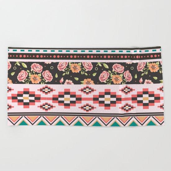 Floral Aztec Tribals Beach Towel