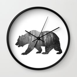 Bear Silhouette | Forest Photography Wall Clock