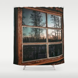 Lumberjack Cabin Window // Grainy Reflection of the Sunset and Trees Shower Curtain