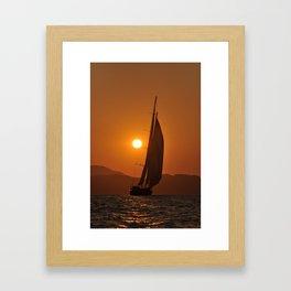 sailboat in sunset Framed Art Print