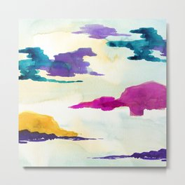 Colourful Loch Abstract Watercolor Painting Metal Print