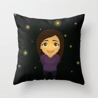 fireflies Throw Pillows featuring Fireflies by Sara Showalter