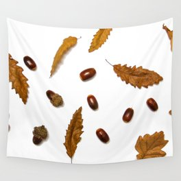 Acorns & Leafs (Color) Wall Tapestry