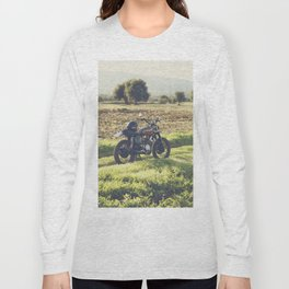 Moto guzzi, café racer, photo in south italy, man cave. Scrambler, fine art, motorcycle, motorbike Long Sleeve T-shirt