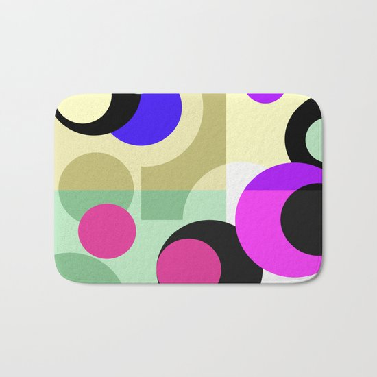 Colorful geometric pattern with polka dots . Bath Mat