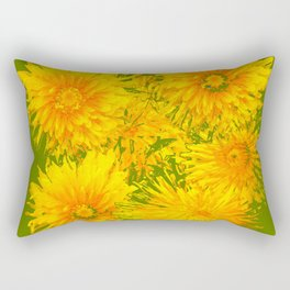 ABSTRACTED MOSS GREEN  FIRST SPRING YELLOW DANDELIONS Rectangular Pillow