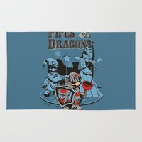 dungeons and dragons Area & Throw Rugs featuring PIPES & DRAGONS by Adams Pinto