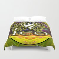 astrology Duvet Covers featuring Leo Zodiac Sign Astrology by CAP Artwork & Design