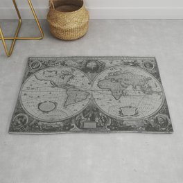 Antique Gray Map Rug