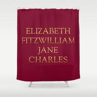pride and prejudice Shower Curtains featuring Characters from Pride & Prejudice by Bookish and Wonderful