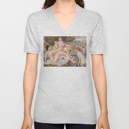 """Pierre-Auguste Renoir """"Les grandes baigneuses"""" Unisex V-Neck"""