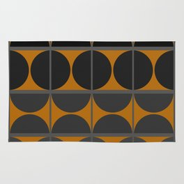 Black and Gray Gradient with Gold Squares and Half Circles Digital Illustration - Artwork Rug