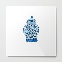 Blue White Ginger Jar  Metal Print