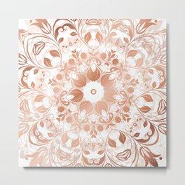 Rose Gold White Mandala Metal Print