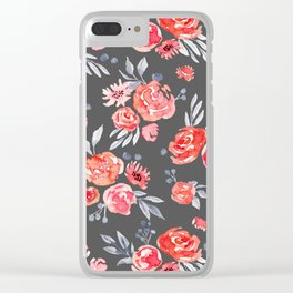 Watercolor Peach Floral - Gray Clear iPhone Case