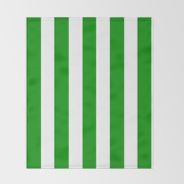 Islamic green - solid color - white vertical lines pattern Throw Blanket