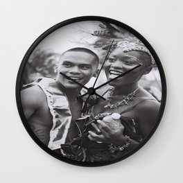 Caribana Festival Parade Costume revellers Black and white photo  Wall Clock