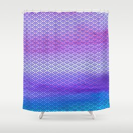 Candy Pop/Navy Blue Watercolor Seigaiha Pattern Shower Curtain