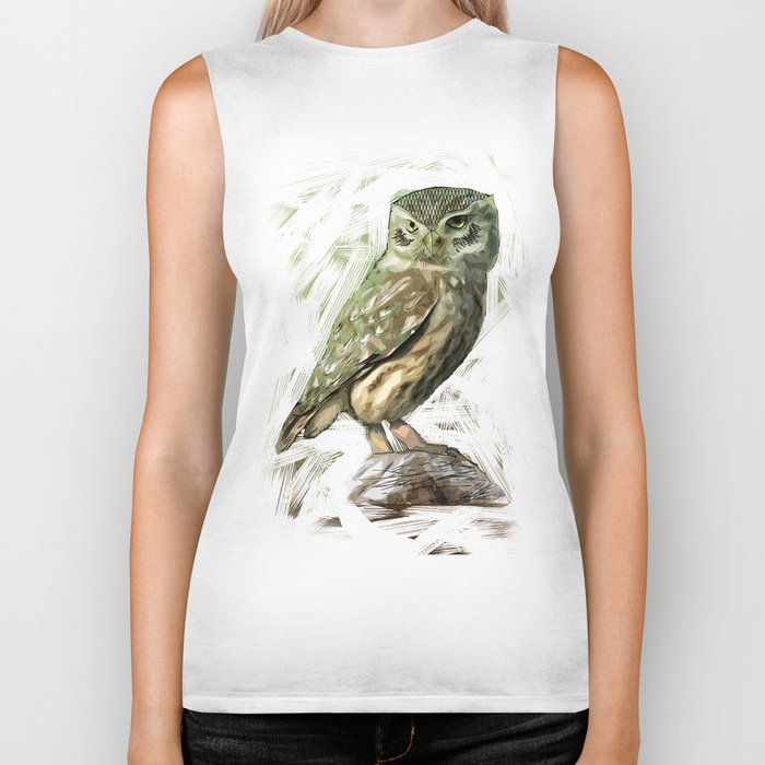 Olive Owl Biker Tank