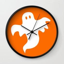 Spooky White Halloween Ghost Wall Clock