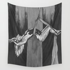 Hanging by a Thread Black and White Wall Tapestry