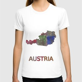 Austria map outline Multicolor hand-drawn watercolor pattern T-shirt