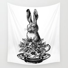 Rabbit in a Teacup | Black and White Wall Tapestry