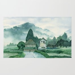 Japanese Village , After Rain ,  Art Watercolor Painting print by Suisai Genki  Rug