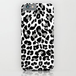 Black and white leopard print iPhone Case