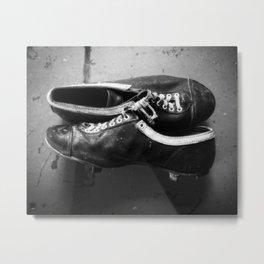 Vintage Baseball Cleats B&W Metal Print