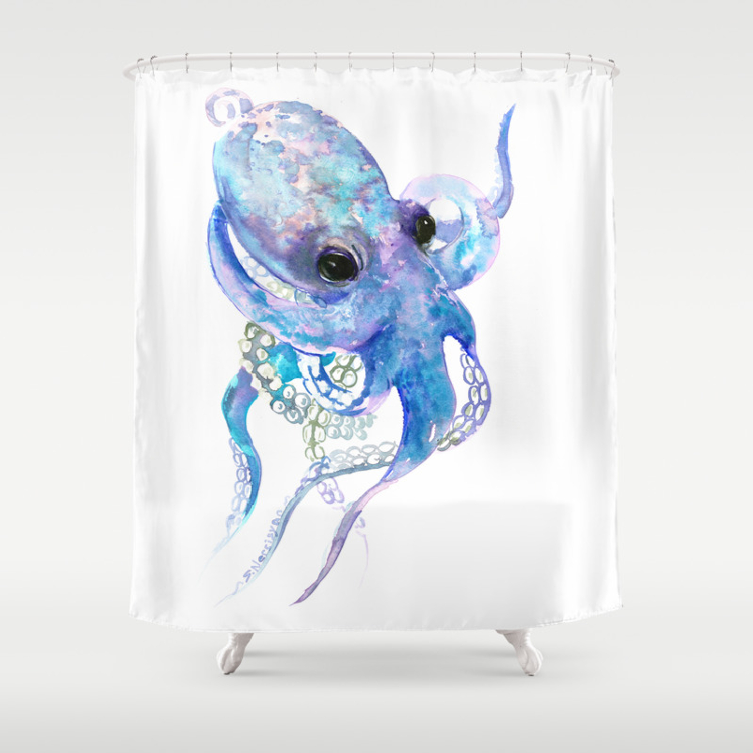 Octopus Sky Blue Royal Blue Sea World Underwater Scene Beach House Art Shower Curtain