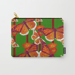 GREEN  DECORATED MONARCHS & POPPY FLOWERS ART Carry-All Pouch