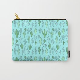 Cactus in Blue & Green Carry-All Pouch
