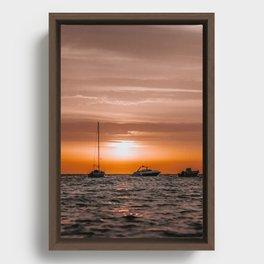 Ibiza Sunrise | Boat | Travel photography | Fine Art Framed Canvas