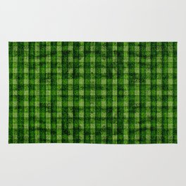 Forest Green and Lime Velvety Gingham Faux Suede Rug