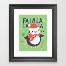Fa la la penguin Framed Art Print