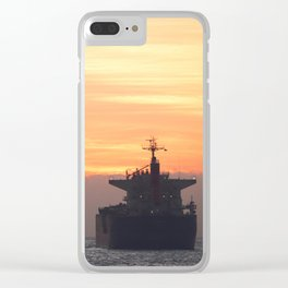 Sunset and the ship. Clear iPhone Case