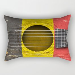 Old Vintage Acoustic Guitar with Belgian Flag Rectangular Pillow