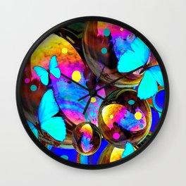 BLUE BUTTERFLIES & IRIDESCENT ORBS ART Wall Clock