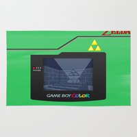 gameboy Area & Throw Rugs featuring Gameboy Color Zelda Triforce Logo by Veylow