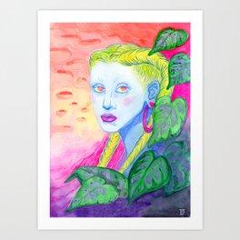 fluorescent plant grl Art Print