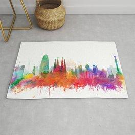 Barcelona City Skyline Watercolor by zouzounioart Rug
