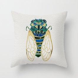 Green & Gold Cicada Throw Pillow